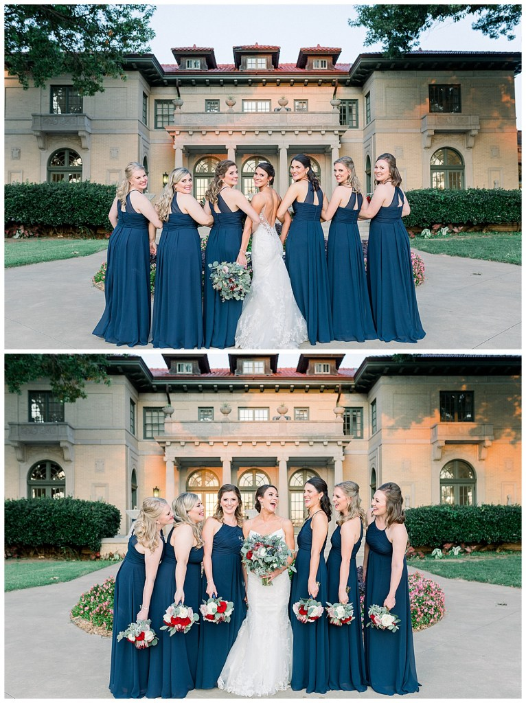 Bride and bridesmaids in front of Mansion at Woodward Park| Tulsa wedding| Andi Bravo Photography