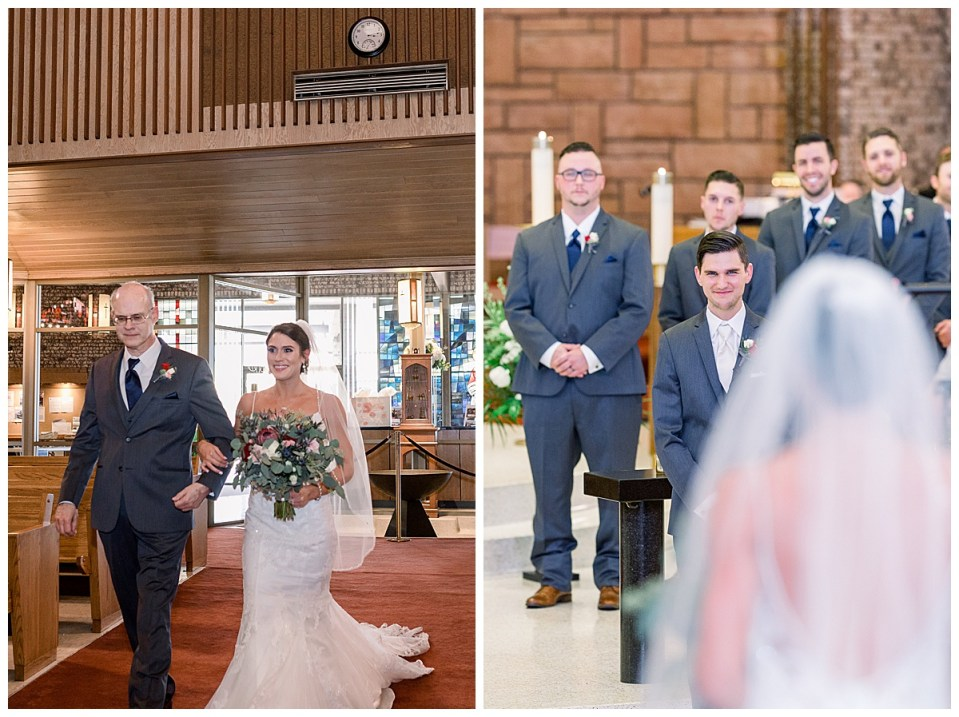Bride coming down aisle| groom sees bride for first time| Andi Bravo Photography