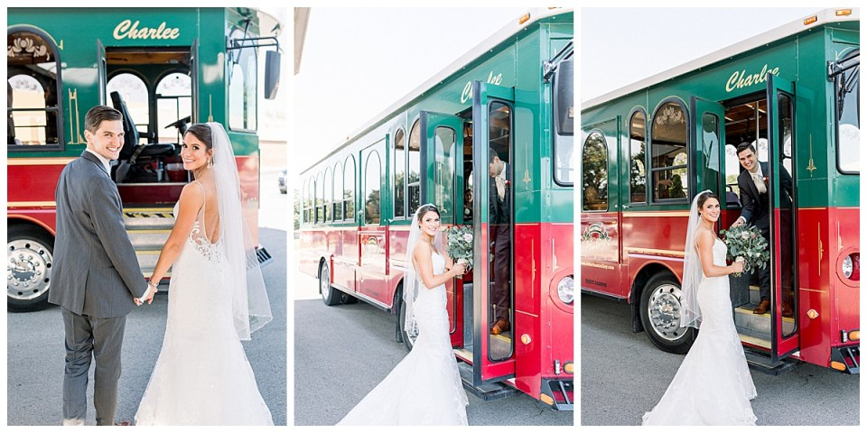 Bride and groom getting on trolly after wedding ceremony| wedding getaway car| Tulsa wedding| Andi Bravo Photography