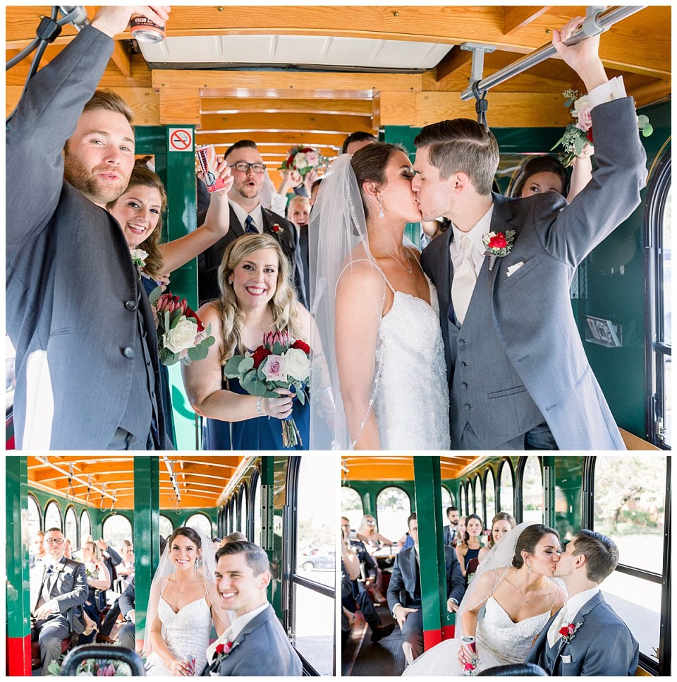 Bridal party on wedding getaway trolly| unique wedding ideas| Tulsa wedding photographer| Andi Bravo Photography