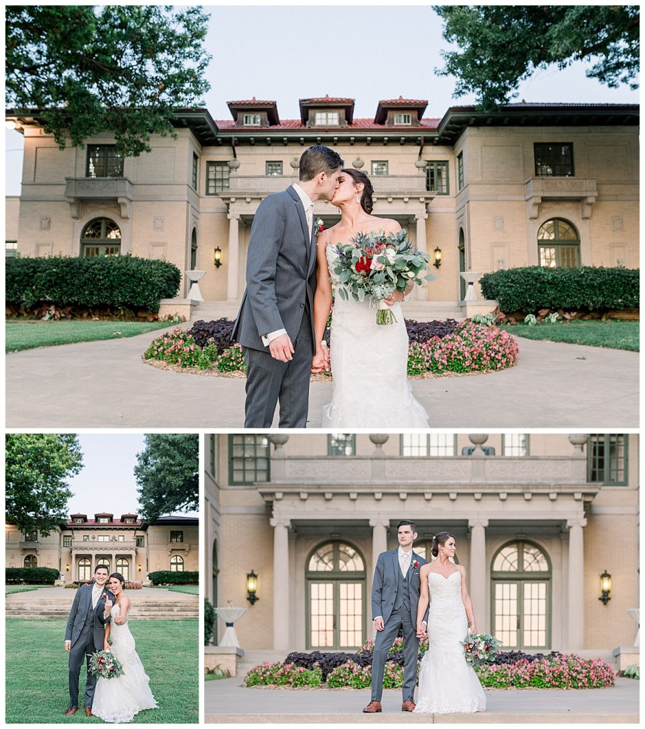 Bride and groom kissing out in front of Tulsa wedding venue| The Mansion at Woodward Park wedding| Andi Bravo Photography