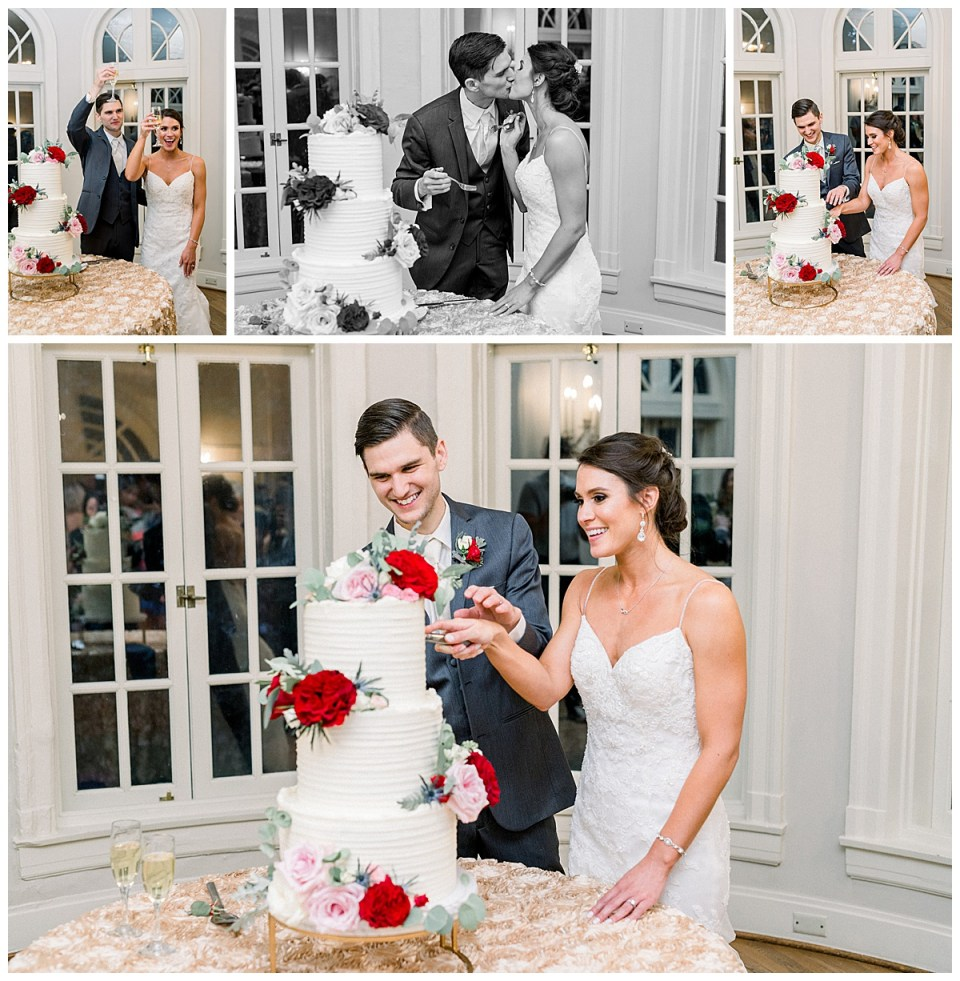 Bride and groom cut the wedding cake| 3 tiered wedding cake with roses| Tulsa wedding cake| Andi Bravo Photography