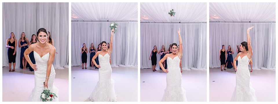 Bride throws wedding bouquet for bouquet toss| Tulsa wedding photographer| Andi Bravo Photography