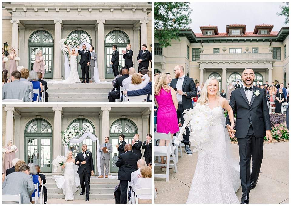 Bride and groom raising hand in air and smiling leaving alter| Mansion at Woodward Park| Tulsa weddings| Tulsa wedding photographer| Andi Bravo Photography