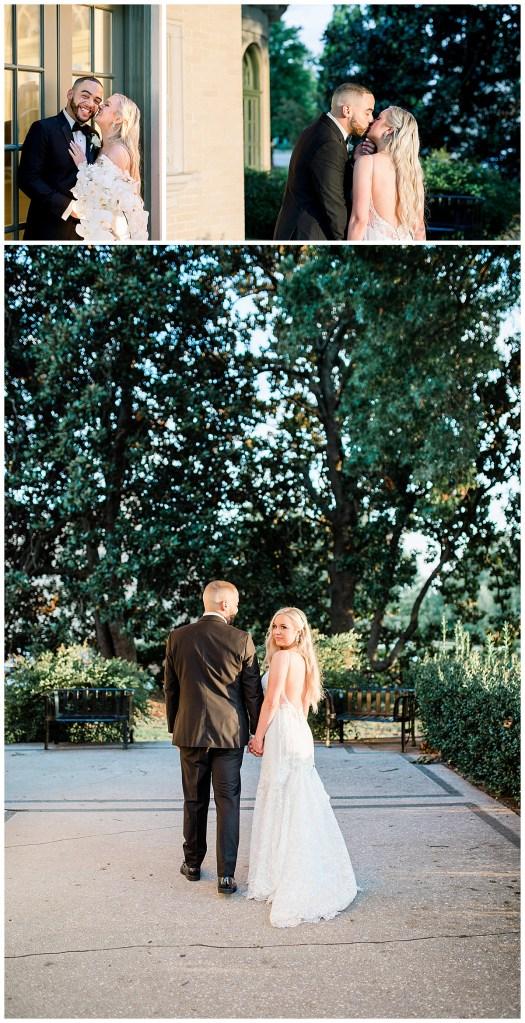 Bride and groom kissing at sunset after wedding ceremony| Tulsa wedding venue| Mansion at Woodward Park wedding| Tulsa & destination wedding photographer| Andi Bravo Photography