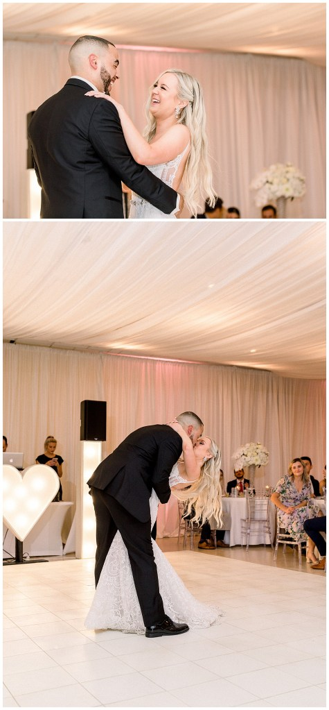 Bride and groom laughing and leaning into a dip for a kiss| wedding reception first dance| bride and groom first dance kiss| Tulsa weddings| The Mansion at Woodward Park wedding reception| Andi Bravo Photography