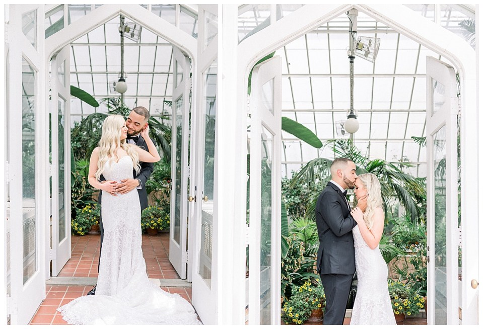 Bride and groom embracing in doorway of greenhouse| Greenhouse wedding portraits| Tulsa wedding venue| Tulsa greenhouse| Tulsa wedding photographer| Andi Bravo Photography
