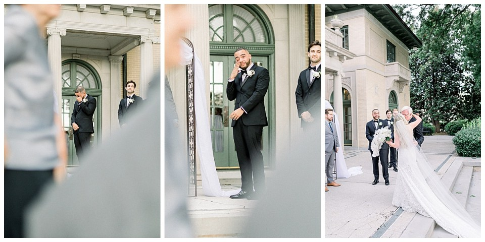 Groom tears up while bride walks up aise| Tulsa weddings| groom reaction| Andi Bravo Photography