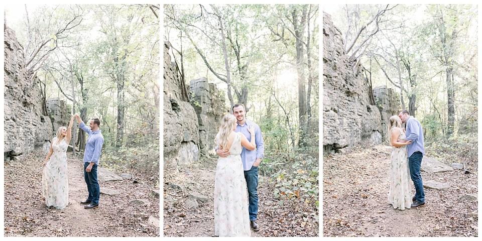 Couple dancing in Chandler Park woods