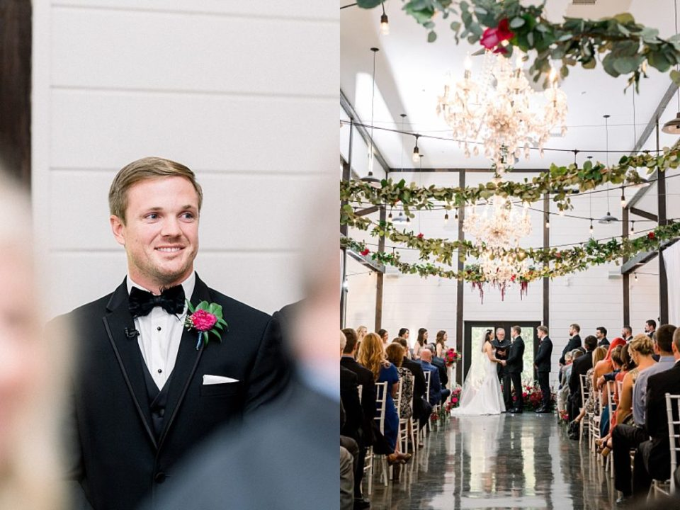 Groom reaction when bride walks down aisle Dream Point Ranch