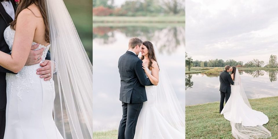 Bride and groom portraits by pond at Dream Point Ranch