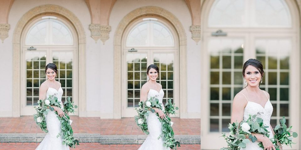 Bride draped in garland at Tulsa Philbrook
