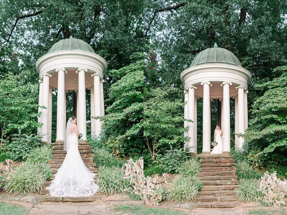 Bride on steps of gazebo with wedding train flowing down at Philbrook Bridal Session