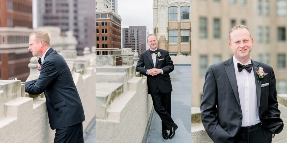 Groom standing on rooftop at Tulsa Club Hotel wedding
