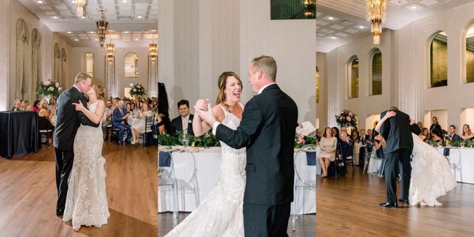 Bride and groom first dance at Tulsa Club Hotel