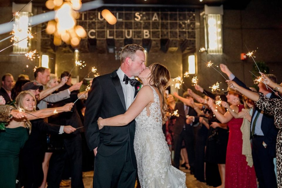 Bride and groom sparkler grand exit at Tulsa Club Hotel wedding