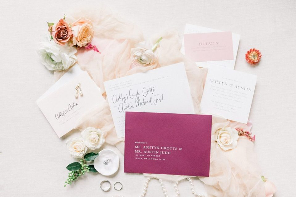 pink white and berry wedding invitations