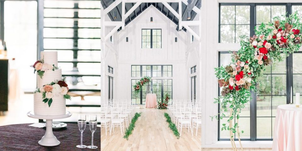 Round wedding arch and 3 tiered wedding cake at black barn at Spain Ranch wedding