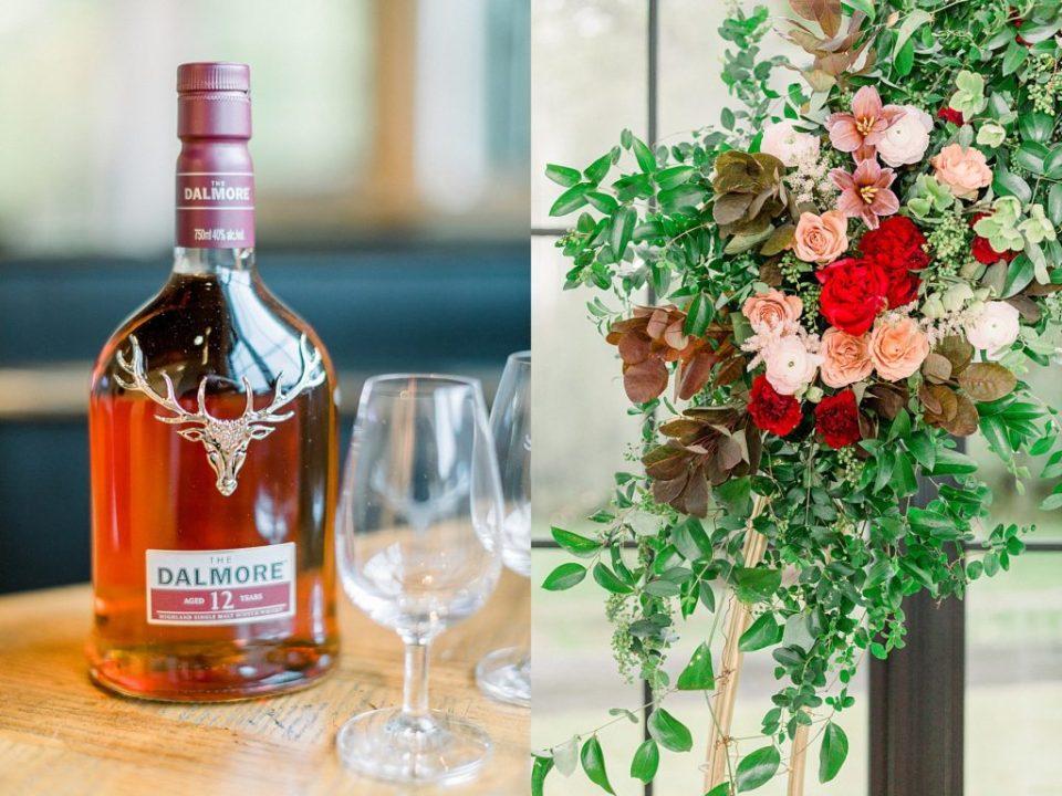 Dalmore aged liquor and wedding flowers