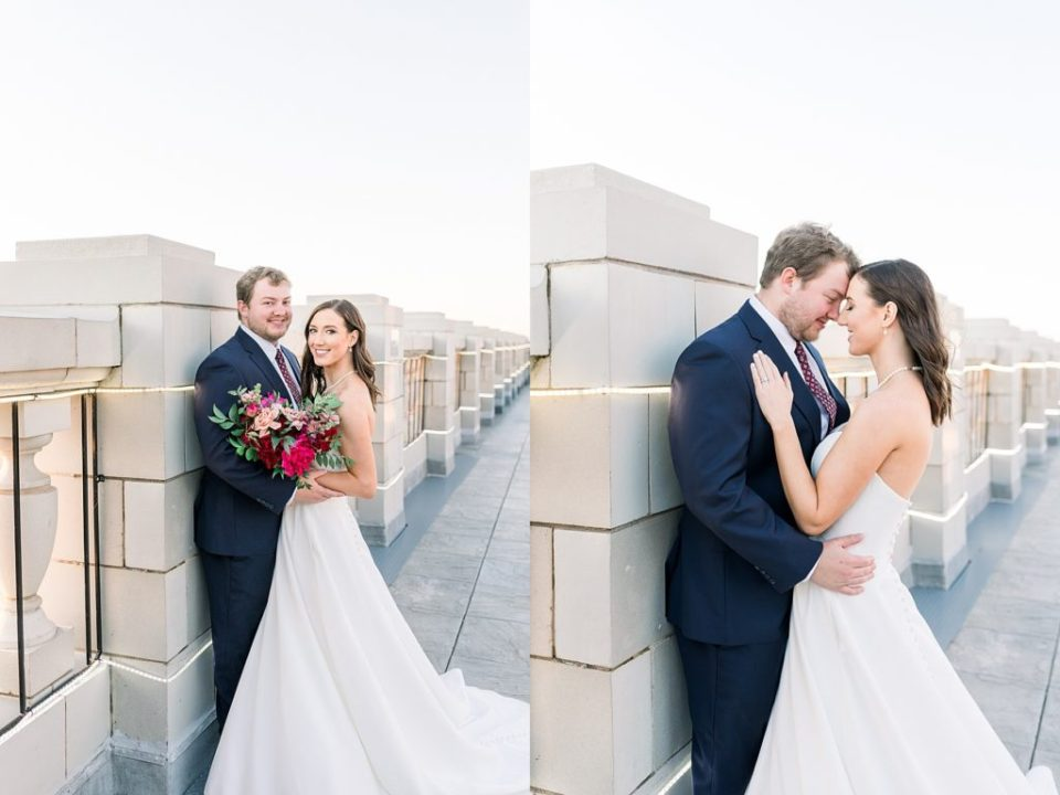 Bride and groom embrace on rooftop at The Mayo Hotel Tulsa wedding