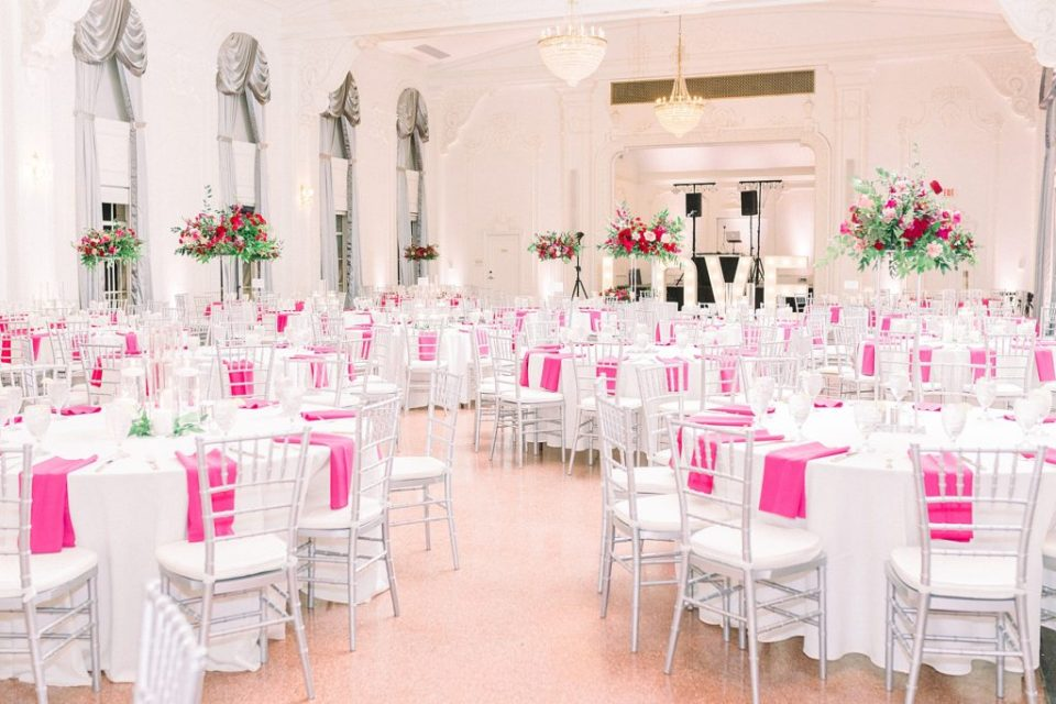 Hot pink and white wedding reception at The Mayo Hotel