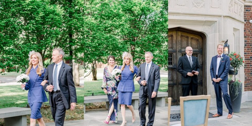 Bride in dress suit walking down aisle