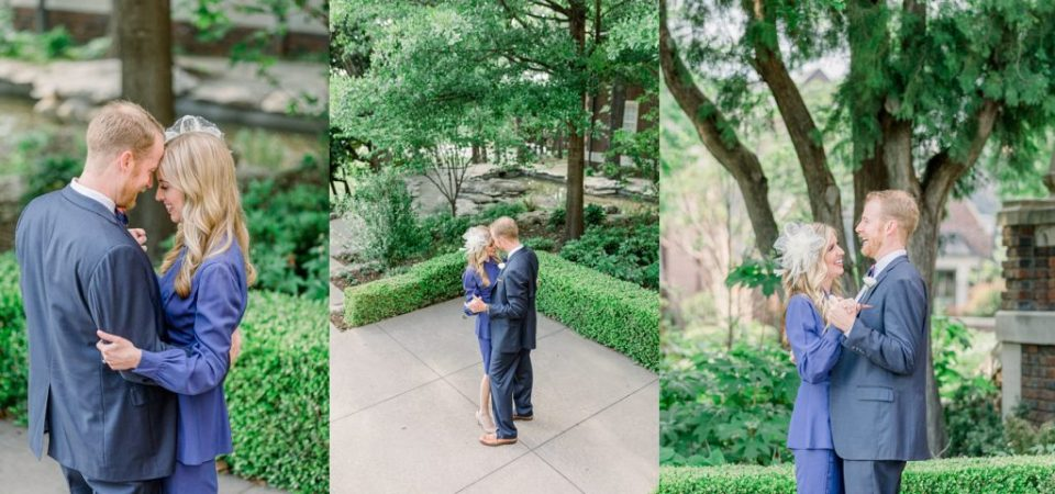 Bride and groom dancing in courtyard at Harwelden Mansion Tulsa elopement