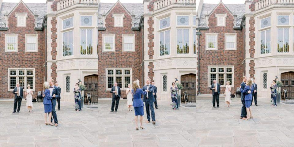 Bride and groom dancing in courtyard at Harweldon Mansion elopement