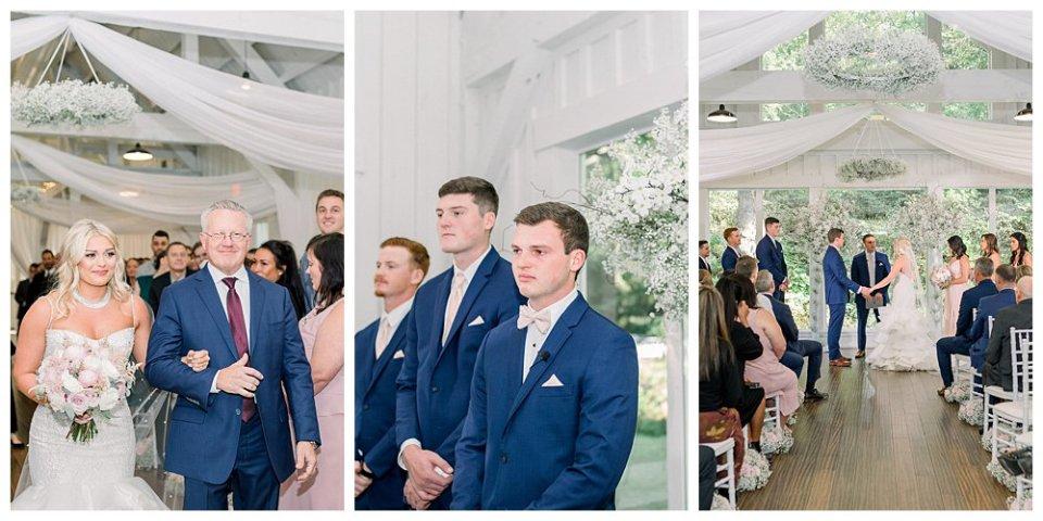 Groom sees bride walking down aisle at Spain Ranch