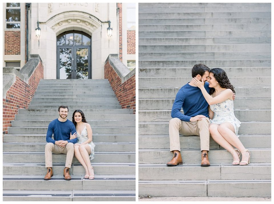 Couple snuggling on steps in OU Norman engagement session