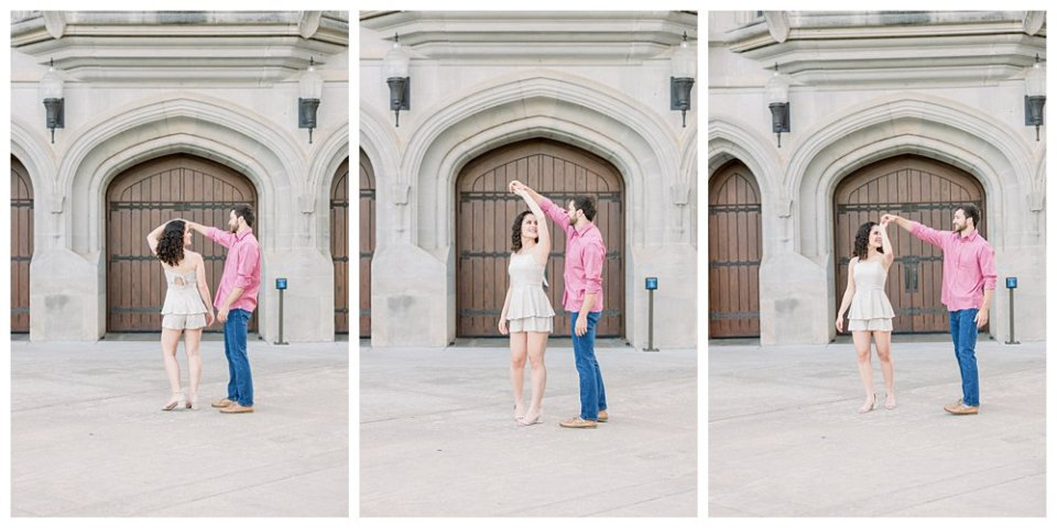 Couple dancing in front of building at OU Norman