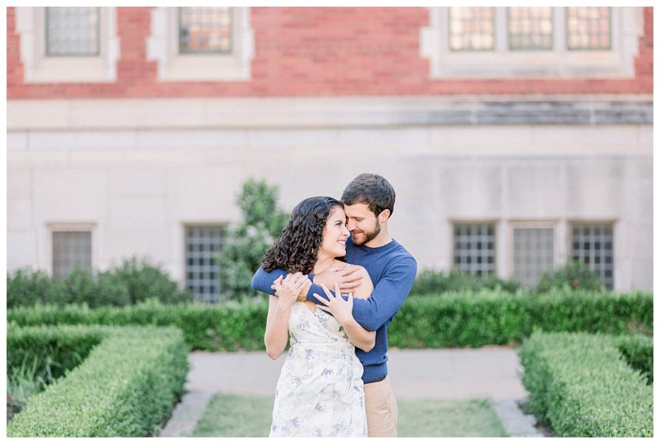 Couple snuggling in OU engagement session