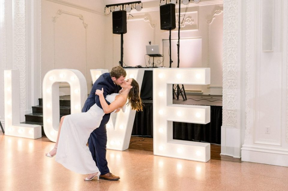Bride and groom first dance at the Mayo Hotel