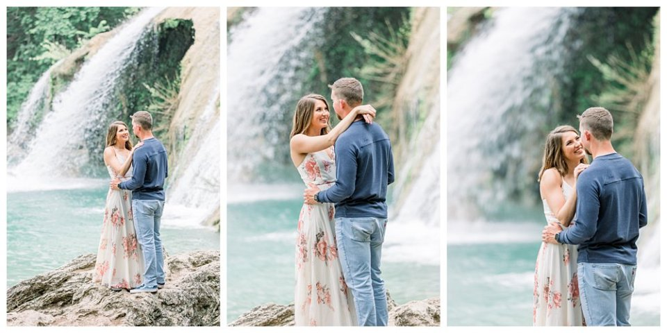 Couple embracing in front of Turner Falls