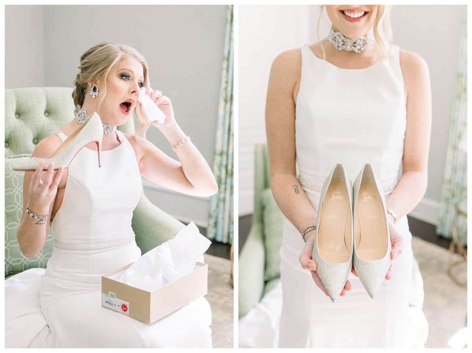 Bride receiving Christian Louboutin heels as wedding gift