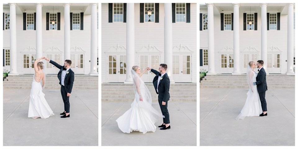 Bride and groom dance in front of The Milestone Mansion in Aubrey Texas