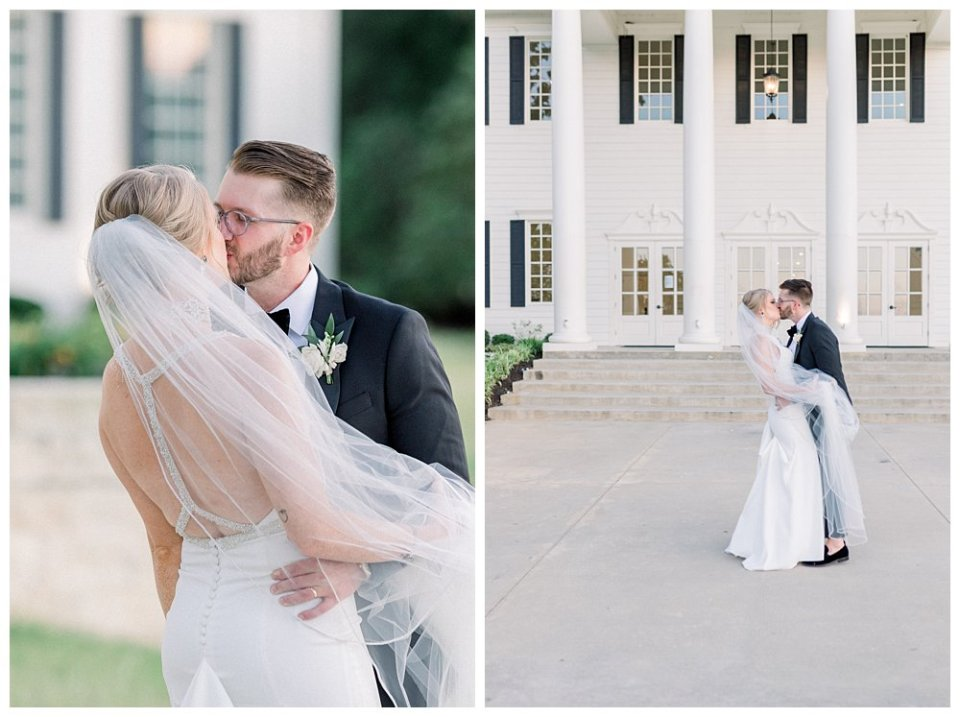 Bride and groom kiss in front of The Milestone Mansion