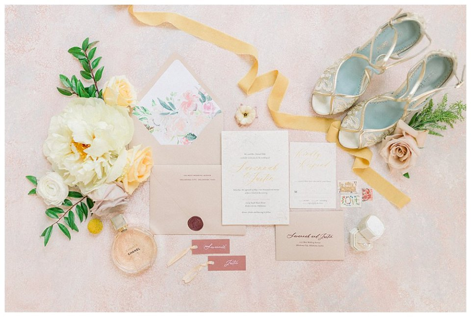 white, yellow, and gold wedding invitations, florals and wedding heels