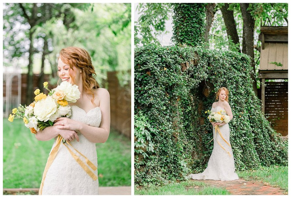 Bride standing under ivy arch at Willow Creek Mansion bridal session