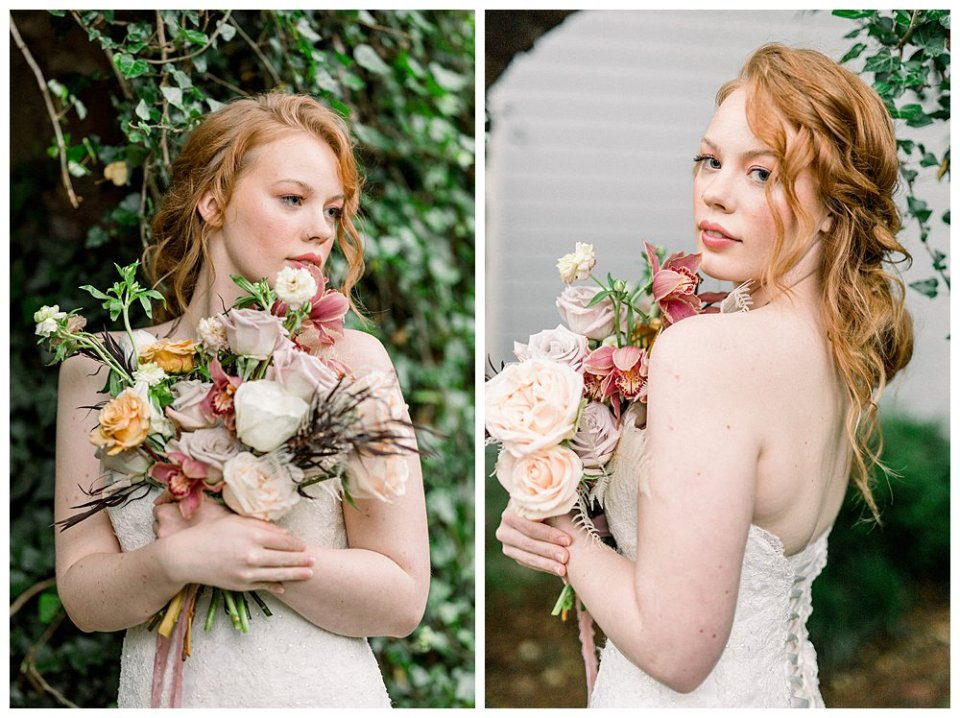Bride holding vintage rose bouquet in Willow Creek Mansion bridal session