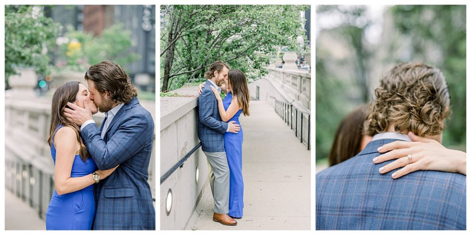Couple kissing underneath tree in Chicago engagement session