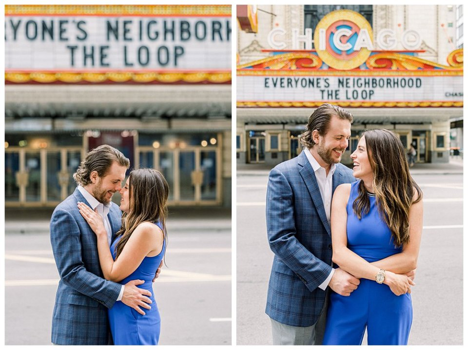 Couple embracing in Chicago engagement session - Chicago Neighborhood Loop