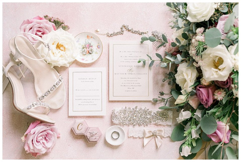 Cream and pink wedding details