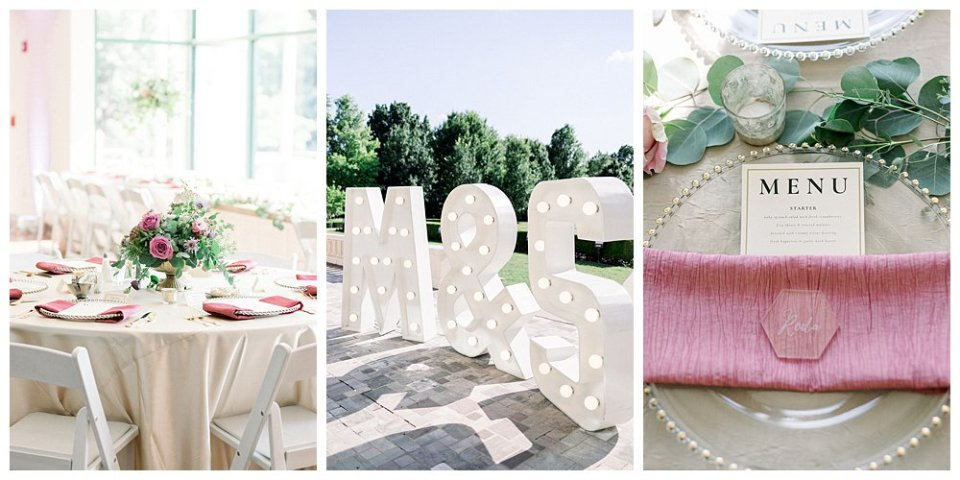 Pink and cream wedding details wedding marquee at the Mansion at Woodward Park