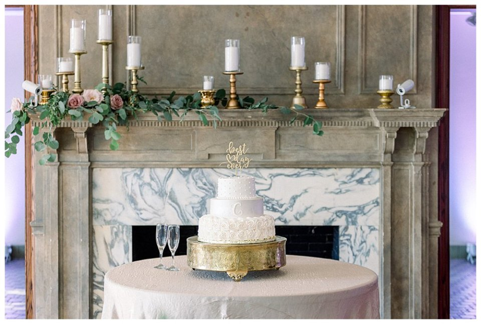 white 3 tiered textured wedding cake at Mansion at Woodward Park wedding