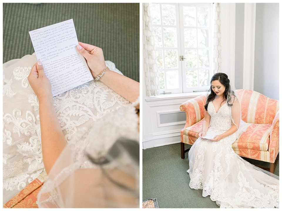 Bride reading letter from soon to be husband