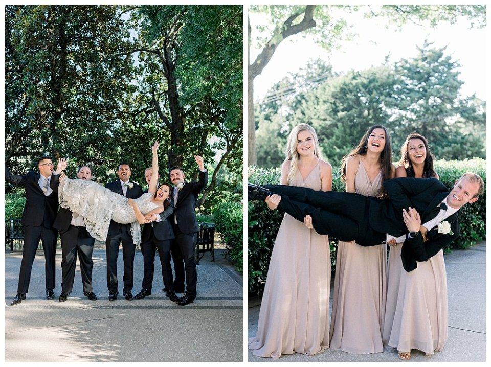 Bride being held by groomsmen- groom being held by bridesmaids