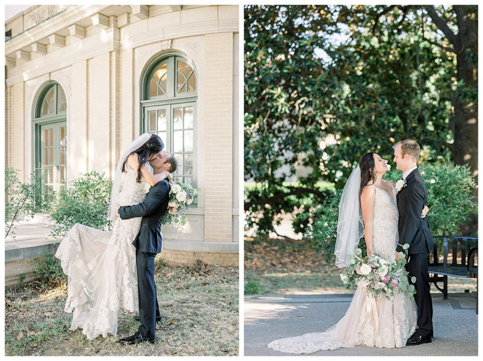 Groom lifting bride up and kissing her
