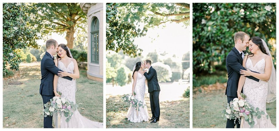Bride and groom nuzzling at Woodward Park wedding