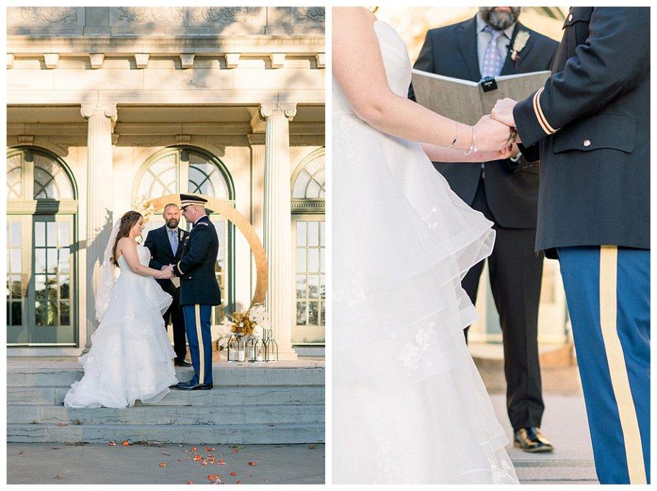 Bride and groom holding hands at alter at Tulsa Garden Center wedding- Mansion at Woodward Park